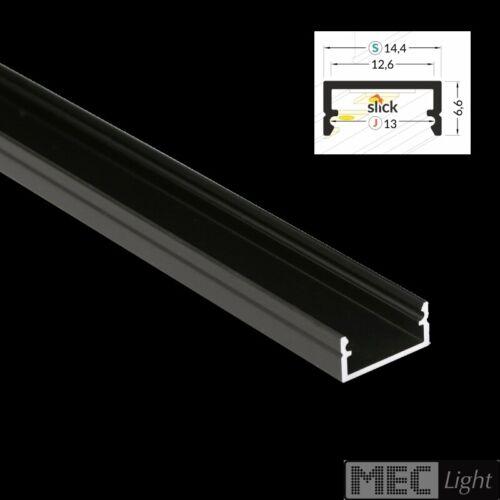 """diffuser Abdeckung Led Streifen 1m Profil /""""BEGTON-12/"""" Aluminium-Leiste schwarz"""