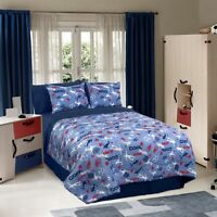 Sports Baseball Football Soccer Blue Red Star Comforter Set Boys Twin Or Full