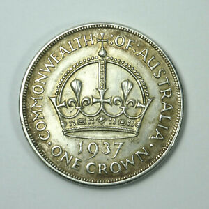 1937-Crown-Australian-Sterling-Silver-Pre-Decimal-Coin-George-VI-Vintage-Antique