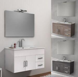 Dettagli su Mobile per Bagno da 100cm 3 colori bianco wengè o larice con  lavabo in ceramica