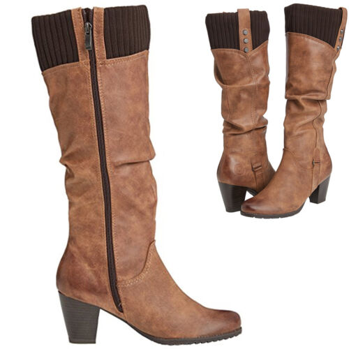Ladies Marco Tozzi 25511 Block Heel Knee High Faux Leather Quality Low Mid Size