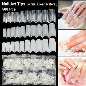 500-Tips-Acrylic-UV-Gel-French-False-Half-Artificial-Nail-Art-Tip-Natural-White