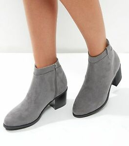 7e7d77dd566 Details about New Look Wide Fit Grey Suedette Western Ankle Boots Size 6  Brand New