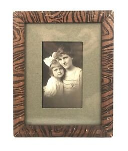 Antique-19th-Century-Victorian-Wood-Grain-Painted-Picture-Frame