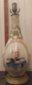 WWI-Kaiser-Wilhelm-Royal-Bonn-Portrait-China-Vase-Lamp-Iron-Cross-Germany