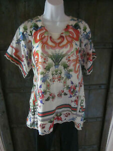 Johnny-Was-Womens-Size-L-Multi-Color-Ivory-Silk-Poncho-Blouse-Tunic-Top-SS-Shirt