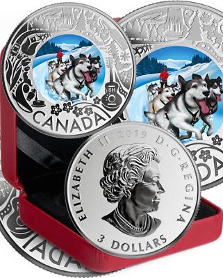 2019 Dogsledding $3 PureSilver Proof Coin Canada Fun Festivities