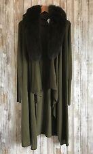 $660 Alice + Olivia Azaria Olive Fox Fur Collar Cashmere Long Cardigan S Small *