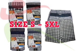 12 Pairs Mens Cotton Blend Button Boxer Shorts Check Patterned LOT Sizes S - 6XL