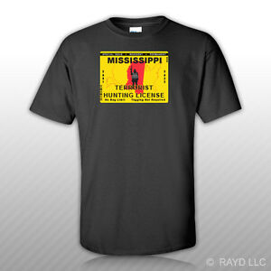Mississippi terrorist hunting permit t shirt tee shirt for Mississippi fishing license