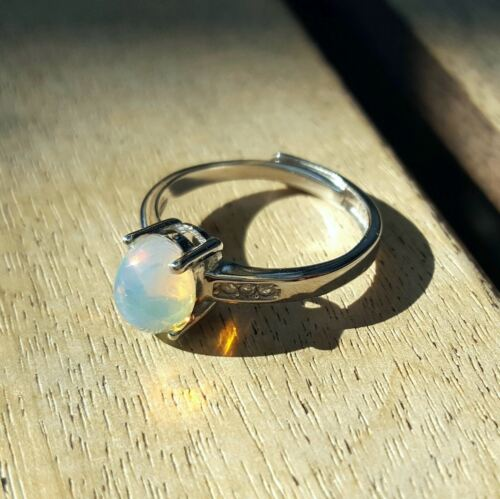 925 Sterling Silver Natural Fire Opals Gemstones Vintage Jewelry Rings 5-9 Gift