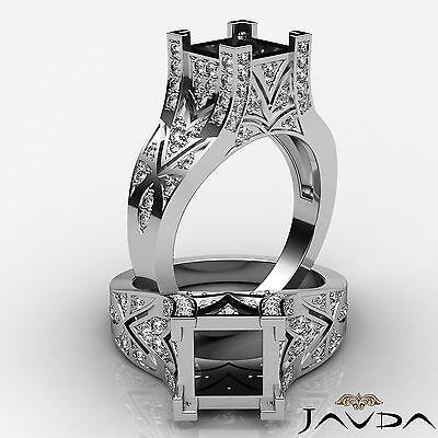 Pave Set Diamond Fashion Wedding Ring 18k White Gold 0.7Ct Princess Semi Mount