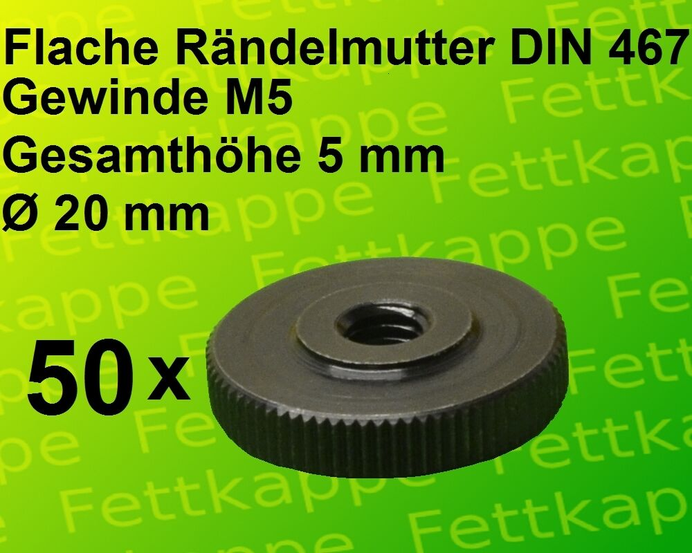 50x M5 Rändelmutter DIN 467 - Ø 20mm 20mm 20mm - Höhe 5mm - Stahl brüniert - Rändelmuttern   Verschiedene Arten und Stile  475530