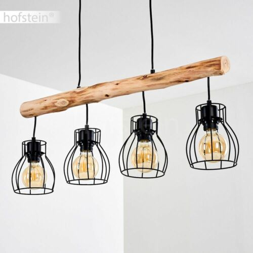 Holz Hänge Lampen 4-flammig Pendel Leuchten Wohn Schlaf Ess Zimmer Beleuchtung