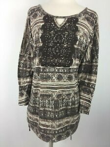 Erika-Womens-size-2X-Plus-Size-Knit-Shirt-Top-Brown-Embellished-Ruched-Sides