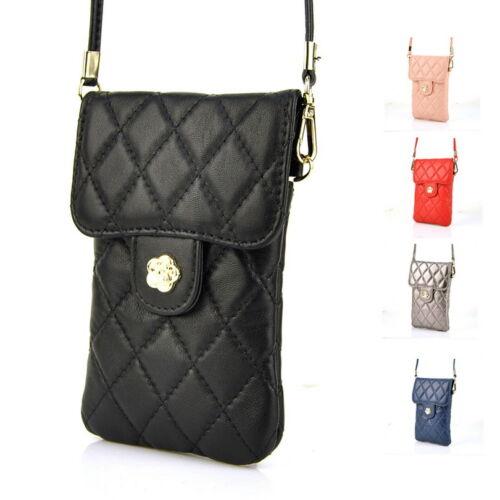 Women Genuine Leather Quilted Cellphone Bag Mobile Handbag Shoulder Travel Purse
