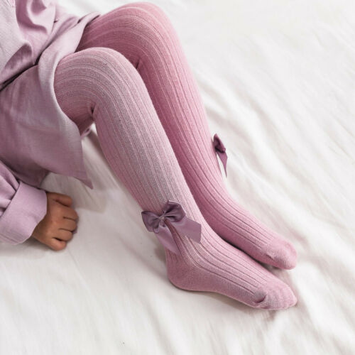UK Toddler Baby Kid Girls Bow Stockings Solid Bow Warm Pants Hose Pants Trousers