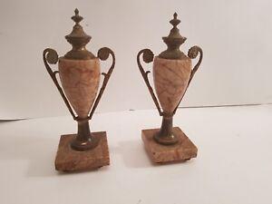 Ancienne paire de cassolette en marbre et bronze style Louis XVI fin XIX ème  s