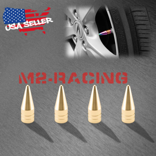 4PCs Champagne Gold Long Spike Valve Stem Caps Metal Thread Wheel Tires TVC29