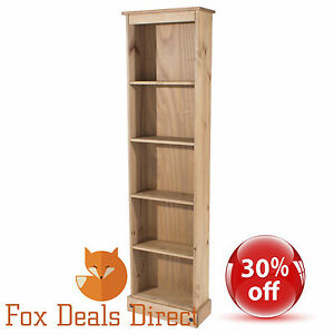 Bookcase-Pine-PREMIUM-CORONA-Tall-Narrow-Shelving-amp-Storage-Office-Living-Room