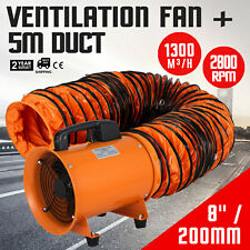 8 Extractor Fan Blower Portable With5m Duct Hose Exhaust Ventilator Rubber Feet