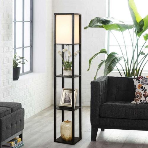 Floor Lamp With Shelves Multi Use Space Saving Paper Storage Shelf Display Light