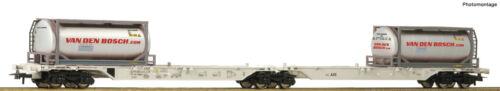 """NEU OVP Roco H0 76632 Container-Doppeltragwagen /""""Van den Bosch/"""" der AAE"""