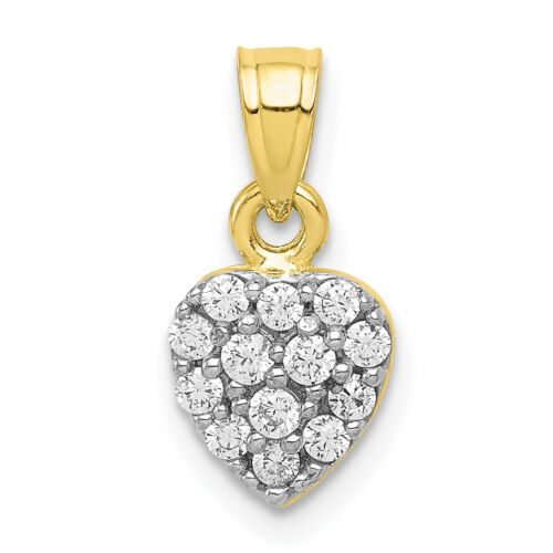 10K Or Jaune Zircone cubique Grappe Heart Charm 11x6mm 0.63 G