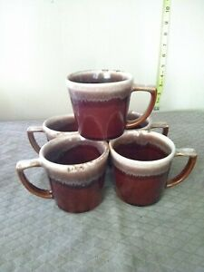 5-Hull-Oven-Proof-Brown-Drip-Coffee-Mug-Cup-Ceramic-CUP-Vintage-USA-3-25-034-tall