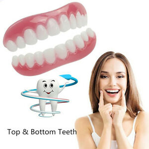 1Pair Silicone Smile Cosmetic Teeth Snap On Upper Lower Flex Dental Veneers Wide