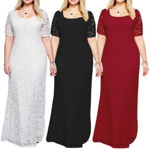 Details about Long Maxi Dress Party Women\'s Plus Size Formal Evening Lace