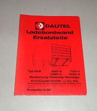 Teilekatalog / Ersatzteilliste Dautel Ladebordwand - Stand 05/1980