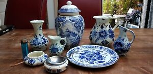 Lot-8-pieces-Vintage-Antique-Dutch-Delft-Blue-White-Jug-Jars-Pot-Urn-Plate