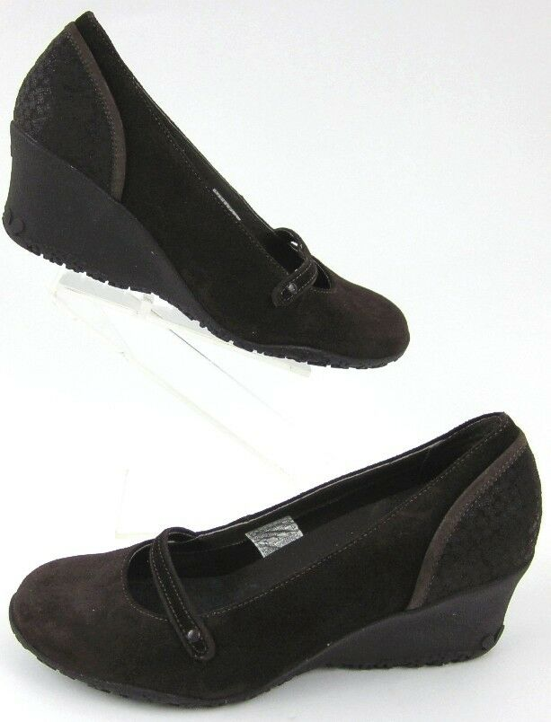 Merrell Petunia Brown Print Suede Leather Mary Jane Wedges Size 8.5 Worn Once