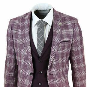 Détails sur Costume homme 3 pièces carreaux style années 20 Gatsby tweed  bordeaux vintage