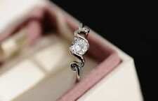 Beautiful Simulated Diamond 12Kt White Gold Filled Engagement Ring Sz M