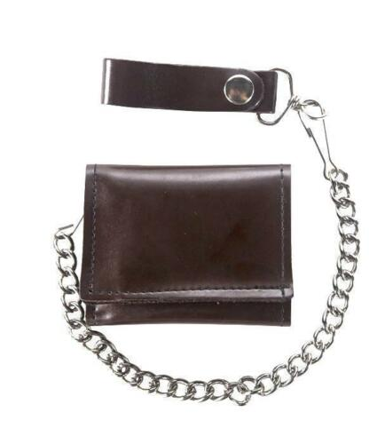 Genuine Dark Brown Leather Trifold Wallet With Jean Pants Chain w Card Slots New