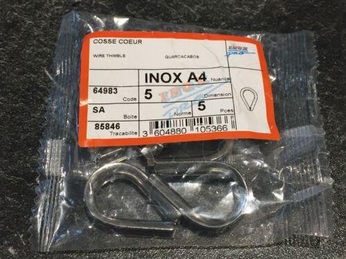 Cosse cœur INOX A4 marine pour câble 5mm Lot de 5