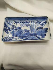 Blue & White Porcelain Rectangle Dish Mini Planter Dish