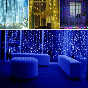 Details About Linkable 300 600 Led Window Curtain Light Icicle Fairy String Lights Xmas Party