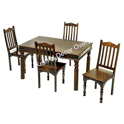 Ethnic Dining Set with 4 Chair set of Shesham Wood in Brown Colour