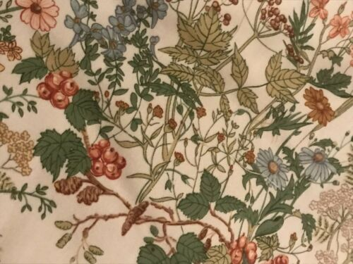 "Vintage Osman Chaucer Teal/& Berry Floral Meadow Cream Butterfly Fabric 22x20"" FQ"