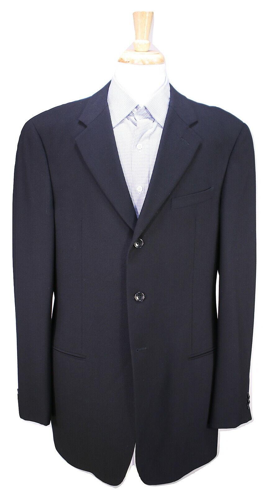 Armani COLLEZIONI  Sarga Negro  Sólido Chaqueta Blazer de lana 3-Btn 43L 42L  genuina alta calidad