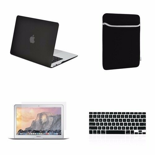 "LCD Bag 4 IN 1 Macbook Air 13/"" Black Rubberized Hard Case Keyboard Cover"