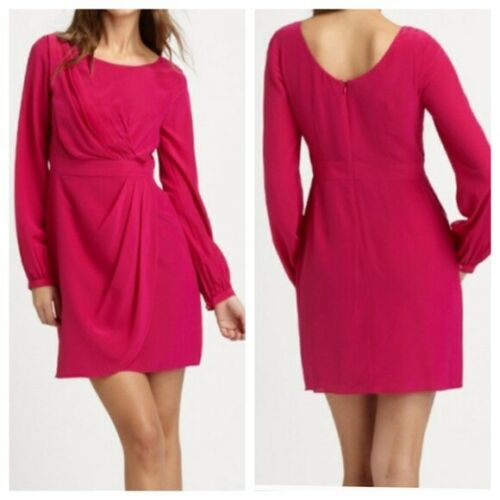Shoshanna Hot Pink Long Sleeve Silk Mini Dress Siz