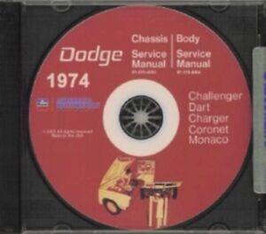 DODGE 1972 Challenger//Dart//Charger Shop Manual CD 72