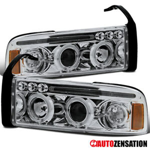 For-1994-2001-1500-Dodge-Ram-Clear-LED-Dual-Halo-Rims-Projector-Headlights-Lamps