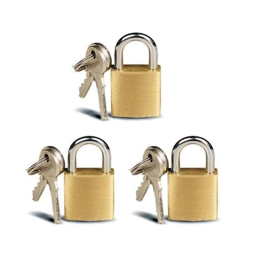 3 Small Metal Padlocks Mini Brass Tiny Box Locks Keyed Jewelry 2 Keys 20mm Safe