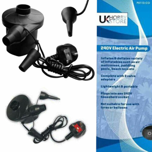 UK 3 broches secteur 240v plug electric airpump Airbed gonfleur piscine pataugeoire