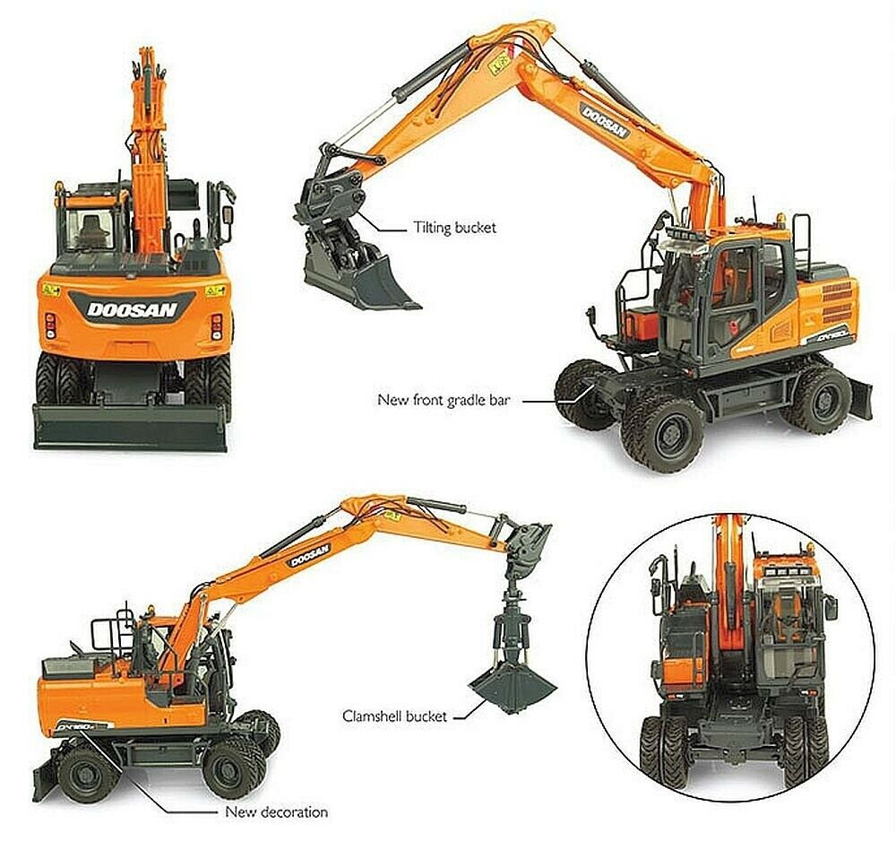 Doosan dx160w + 2 Attachment Excavator 1 50 Model 8134 UNIVERSAL HOBBIES